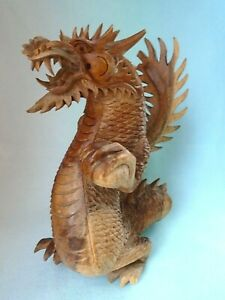 Vintage Asian Handmade Carved Wood Dragon