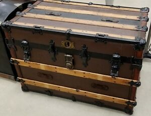 Beautiful Wood Flat Top Steamer Trunk From 1900 S In Fully Restored Condition