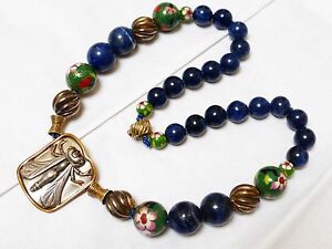 Chinese Vintage Sterling Silver Blue Lapis Bead Necklace
