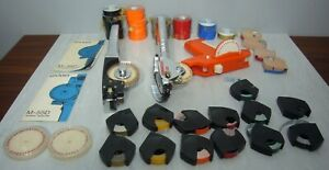 Vtg Lot 3 Dymo Label Makers Chrome Orange Plastic W Tape Rolls Letter Wheels