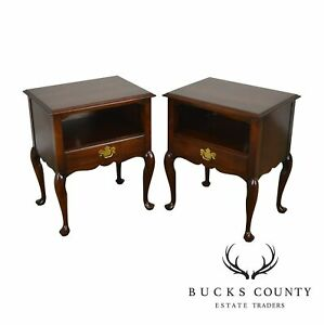Statton Solid Cherry Pair Traditional Queen Anne Nightstands