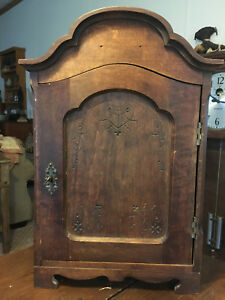 Antique Pennsylvania Dutch Spice Wall Cabinet W Drawers Porcelain Plates