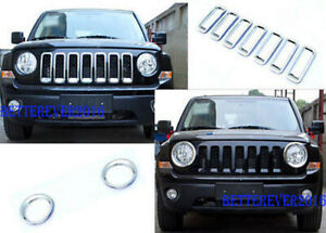 Fit For Jeep Patriot 2011 2017 Chrome Front Grille Grill Trim Headlight Cover