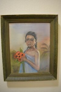 Original Vintage 1968 Hawaiian Portrait Girl W Flowers Chalk Drawing Painting