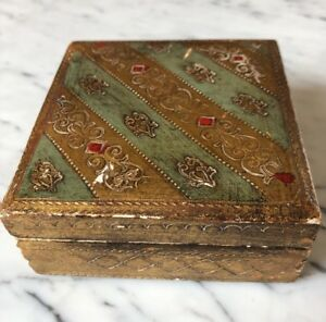 Vintage B Altman Co Fifth Avenue New York Italian Hand Painted Wooden Box