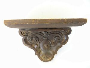 Antique Old Carved Wood Decorative Wall Clock Stand Shelf Holder Used Wooden