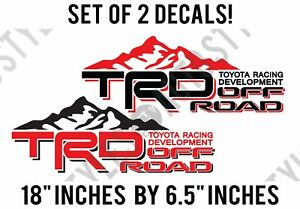 Black Red Decal Pair For Toyota Tundra Tacoma Off Road Mountain Trd Sticker
