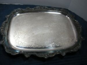 Vintage Antique Silver Plated Footed Ornate Design Butler Serving Tray18x14