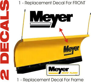 Meyer Snow Plow Decal 2 Pc Kit Mb1 With 1 Large Front Blade Frame Decal Set