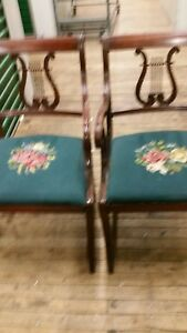 Mahg Set Of 6 Chairs Lyre Back With Needlepoint Seat 2 Arm Chair 4 Side