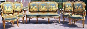 Rare Antique French Victorian Green Gold 5pc Sofa Settee And Chair Set In Usa