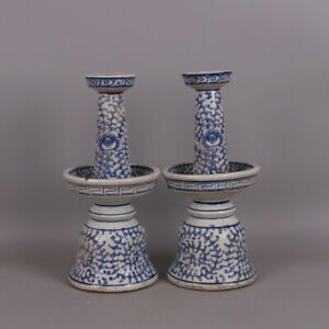 A Pair Vivid Chinese Blue White Porcelain Candlestick
