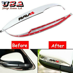 2pcs Glossy Abs Chrome Rearview Mirror Side Cover Trim For Toyota Rav4 2014 2018