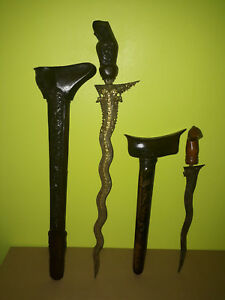 Old A Pair Kris Keris Dagger Malay Brunei Carved Handle Sheath Blade Naga Pamor