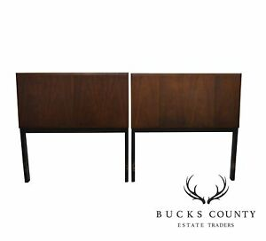 Mid Century Modern Milo Baughman Pair Of Walnut Black Frame Headboards