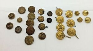 Lot Of 27 Vintage Metal Buttons Military Uniform Army Navy Eagle