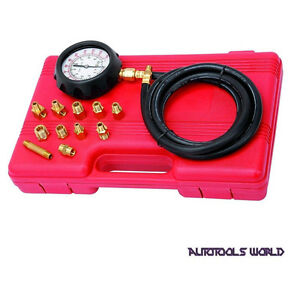 Engine Oil Pressure Tester Gauge Diagnostic W Adapters Case Test Kit