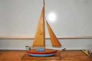 Vintage Model Wooden Mast Yacht Sail Boat Wood Sails Sailboat Wood Ship