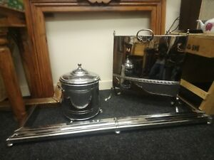 Vintage Art Deco Style Chrome Fire Screen Coal Bucket And Fire Fender