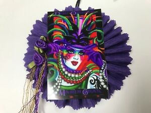 Paper Doll Mardi Gras Mask Beads Gift Tags Ornaments Feather Tree Item 29