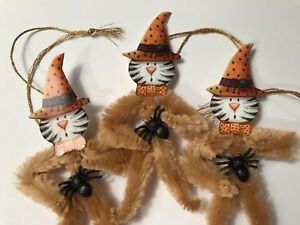 Chenille Halloween Ornaments Vintage Cat Feather Tree Ornaments Tags