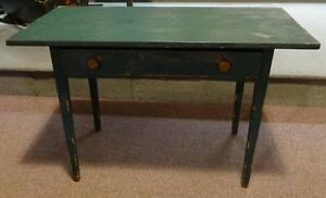 Antique Country Tapered Leg Green Painted Work Table W Drawer