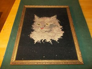Early 190ss Needlepoint Picture Of A Gray Cat S Head With Black Background