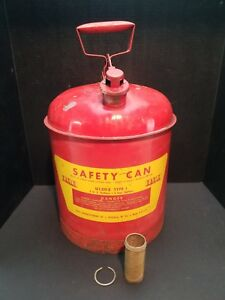 Large Red 5 gallon Eagle Gas Oil Safety Can Spout Nozzle Clean Inside Screened