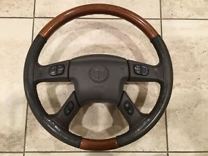 03 06 Cadillac Escalade Wood leather Steering Wheel With Air Bag