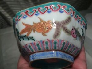 Signed Antique Chinese Porcelain Enamel Bowl Multi Color With Fish