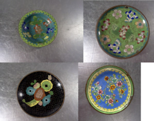 Antique Chinese Cloisonne Saucers Lot Of 4 Saucers