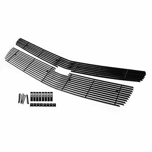 Black Billet Grille Upper Insert Fit 15 18 Chevy Tahoe Suburban Front Grill 2pc