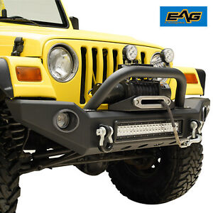 Eag Led Front Bumper W Light Frames Offroad Fit For 87 06 Jeep Wrangler Yj Tj
