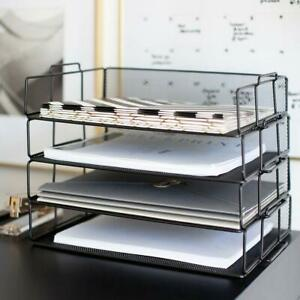 Desk Organizers Accessories Stackable Paper Tray 4 Tier Letter Trays