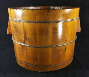 Antique Handcrafted Staved Wood Bucket W Wire Bands 13 5 X 10 5 Inch Vfine Cond
