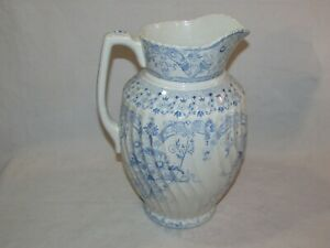 Victorian Era Wash Basin Pitcher Blue White Floral Country Vintage Style
