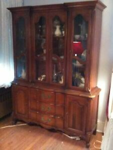 Classical 1950 S French Provincial China Cabinet Breakfront Solid Wood And Glass