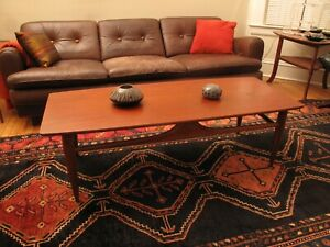 Vtg Mid Century Danish Modern Surfboard Coffee Table Walnut