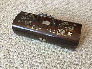 Antique Inlaid Pearl Rosewood Mother Dresser Jewelry Box Casket Carved Trinket