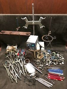 Lot 100 Pc Lab Supplies Stands Rods Clamps Bunsen Burner Rings Stirrer