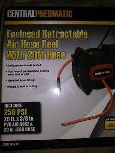 Centralpneumatic Enclosed Retractable Air Hose Reel 250psi 3 8 X 20ft Brand New