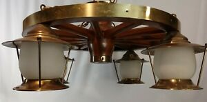 Vintage C1950s 24 4 Light Wagon Wheel Chandelier Wood Brass