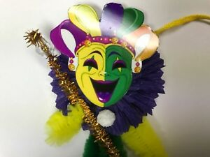 Mardi Gras Jester Mask Beads Gift Tags Ornaments Feather Tree