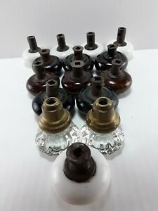 Asst Lot Of 15 Vintage Glass Door Knobs White Black Swirl Brown Clear