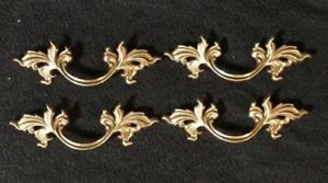 Vtg French Provincial Drawer Pulls 3 Bore Keeler Brass Company N4576 Lot Of 4