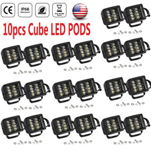10pairs 4in Cube Led Work Light Pod Fog Bar Spot Atv Jeep Driving Offroad Bumpe