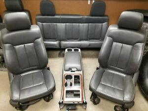 09 14 F150 Super Cab Front Driver Passenger Rear Leather Seats With Console