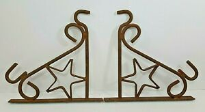 Cast Iron Wall Plant Hanger Vintage Rustic 11 1 4 X 10 3 4 Set Of 2