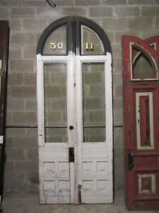 Ornate Antique Arched Top Double Entrance French Doors 45 5 X 113 Salvage