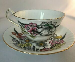 Vintage Victoria Bone China Daffodil Pattern Cup And Saucer Hand Painted